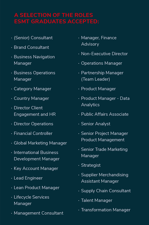 Accepted roles MBA2018